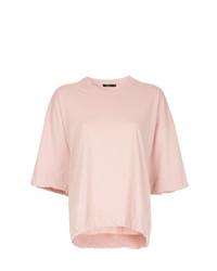 Camiseta con cuello circular rosada de Bassike