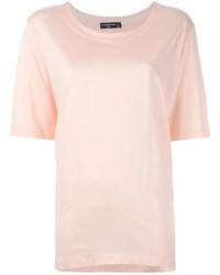 Camiseta con cuello circular rosada