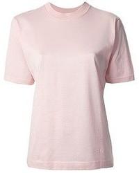 Camiseta con cuello circular rosada de Celine