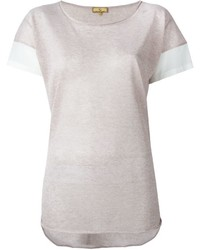 Camiseta con cuello circular rosada de Fay