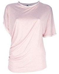 Camiseta con cuello circular rosada de Lanvin
