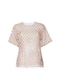 Camiseta con cuello circular rosada de Off-White