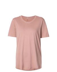 Camiseta con cuello circular rosada de Raquel Allegra