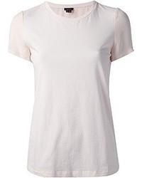 Camiseta con cuello circular rosada de Theory