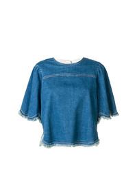 Camiseta con cuello circular vaquera azul de See by Chloe