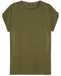Camiseta con cuello circular verde oliva
