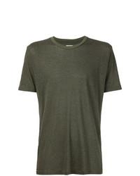 Camiseta con cuello circular verde oliva de 321