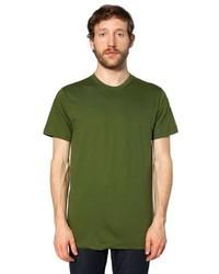 Camiseta con cuello circular verde oliva de American Apparel