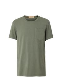 Camiseta con cuello circular verde oliva de Burberry