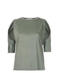 Camiseta con cuello circular verde oliva de Dion Lee