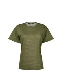Camiseta con cuello circular verde oliva de Junya Watanabe