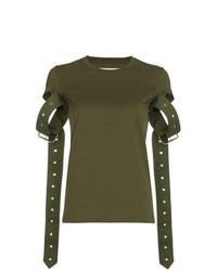 Camiseta con cuello circular verde oliva de MARQUES ALMEIDA
