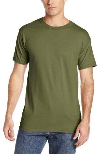 Camiseta con cuello circular verde oliva de MJ Soffe