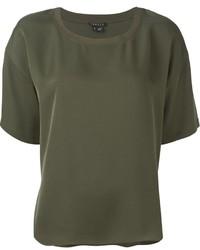 Camiseta con cuello circular verde oliva de Theory
