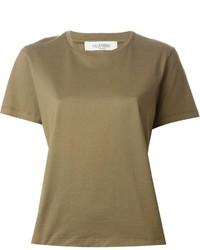 Camiseta con cuello circular verde oliva de Valentino
