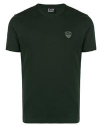 Camiseta con cuello circular verde oscuro de Ea7 Emporio Armani