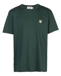 Camiseta con cuello circular verde oscuro de MAISON KITSUNÉ