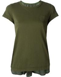 Camiseta con cuello circular verde oscuro de Sacai