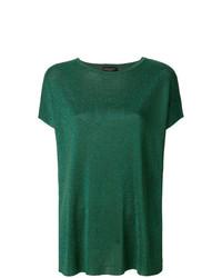 Camiseta con cuello circular verde de Roberto Collina