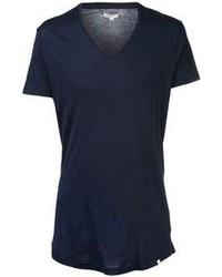 Camiseta con cuello en v azul marino