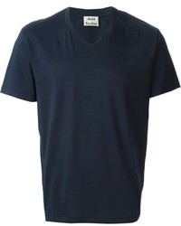 Camiseta con cuello en v azul marino de Acne Studios
