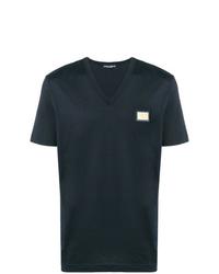Camiseta con cuello en v azul marino de Dolce & Gabbana