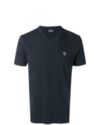 Camiseta con cuello en v azul marino de Ea7 Emporio Armani