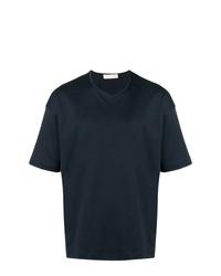 Camiseta con cuello en v azul marino de MACKINTOSH