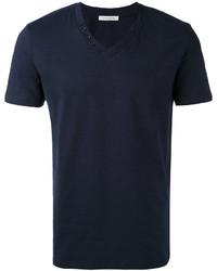 Camiseta con cuello en v azul marino de Paolo Pecora