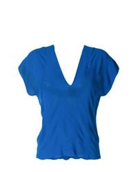 Camiseta con cuello en v azul de Pierantoniogaspari
