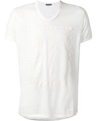 Camiseta con cuello en v blanca de Ann Demeulemeester