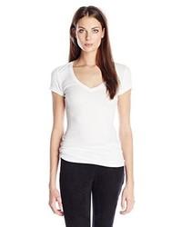 Camiseta con cuello en v blanca de BCBGMAXAZRIA