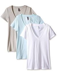 Camiseta con cuello en v blanca de Clementine