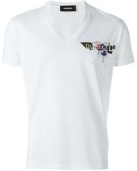 Camiseta con cuello en v blanca de DSQUARED2