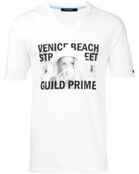 Camiseta con cuello en v blanca de GUILD PRIME