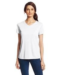 Camiseta con cuello en v blanca de Hanes