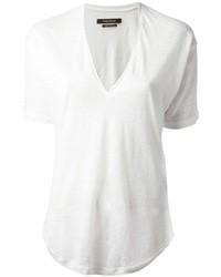 Camiseta con cuello en v blanca de Isabel Marant