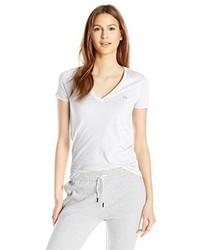 Camiseta con cuello en v blanca de Lacoste