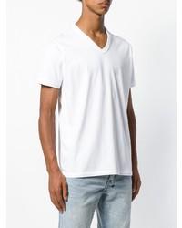 Camiseta con cuello en v blanca de Diesel