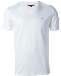 Camiseta con cuello en v blanca de Michael Kors