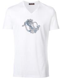 Camiseta con cuello en v blanca de Roberto Cavalli