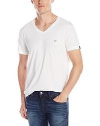 Camiseta con cuello en v blanca de True Religion