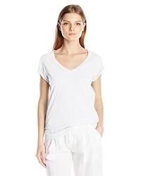 Camiseta con cuello en v blanca de Velvet by Graham & Spencer