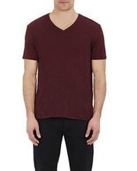 Camiseta con cuello en v burdeos