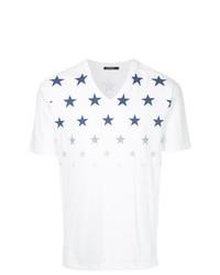 Camiseta con cuello en v de estrellas blanca de GUILD PRIME