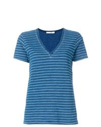 Camiseta con cuello en v de rayas horizontales azul de Rag & Bone