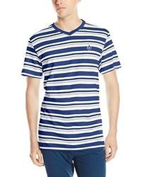 Camiseta con cuello en v de rayas horizontales en blanco y azul de Akademiks