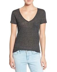 Camiseta con cuello en v de rayas horizontales original 1310003