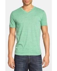 Camiseta con cuello en v en verde menta