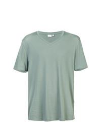 Camiseta con cuello en v en verde menta de Onia